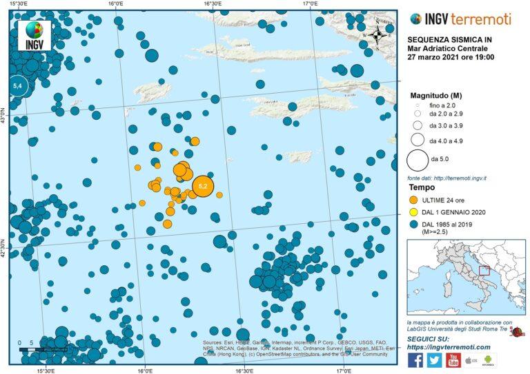 Sequenza sismica in Adriatico centrale, aggiornamento delle ore 19.00 del 27 marzo 2021
