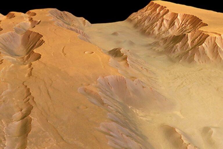 La valle di Coprates Chasma. Credit: ESA/DLR/FU Berlin, CC-BY-SA 3.0 IGO