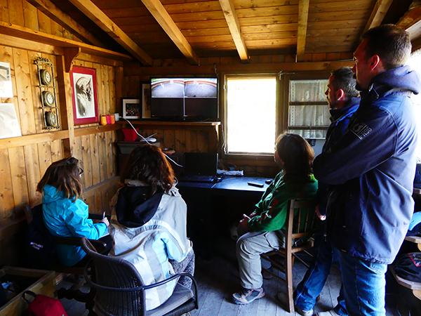 Il gruppo di ricerca osserva in diretta l'interazione di un cavallo con lo specchio tramite l'uso di due telecamere posizionate nell'area sperimentale