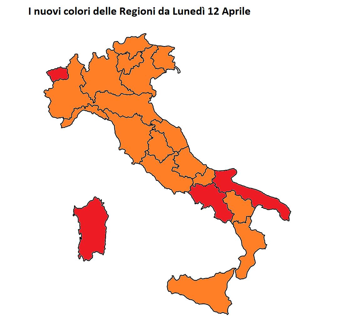 colori regioni 12 aprile 2021