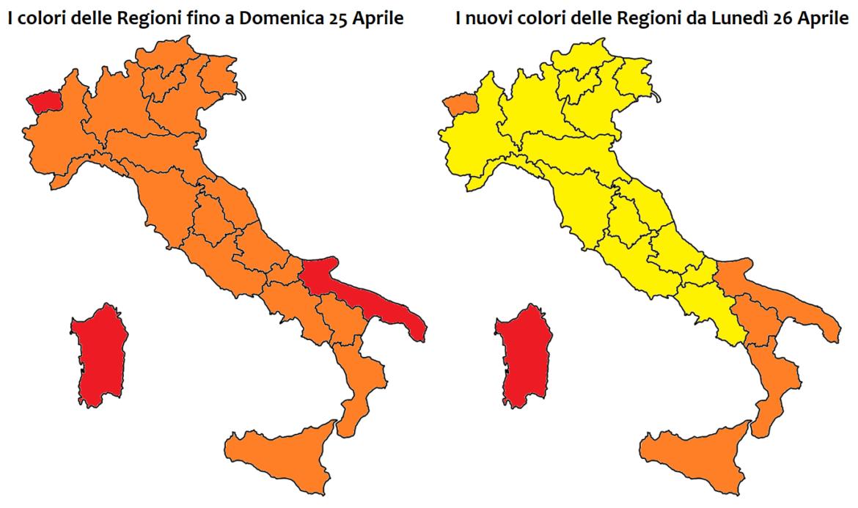 colori regioni lunedì 26 aprile
