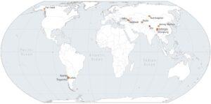 Presenza globale di distacchi di ghiacciai