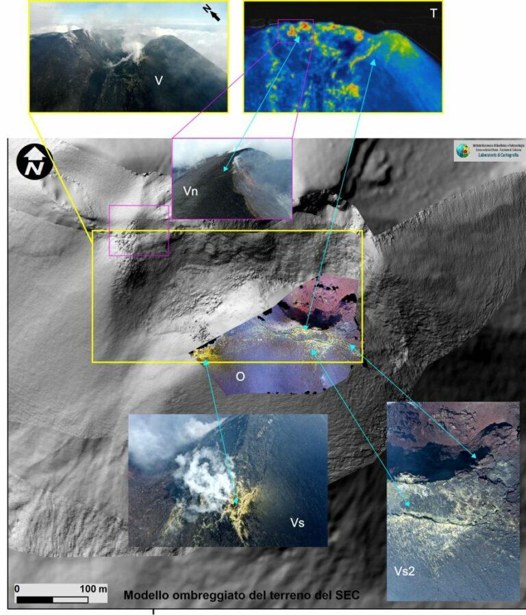 Figura 2 - Modello ombreggiato del Cratere di Sud Est a cui è stata sovrapposta l'ortofoto (riquadro O) dell'alta porzione meridionale del cono in cui è ben evidente un sistema di fratture con direzione sub parallela all'orlo craterico ad andamento E-O. Dall'immagine termica (T) si capisce che le fratture sono più calde del resto del cono. Dalle immagini di dettaglio nel campo del visibile  (V, Vs e Vs2) si notano sia le fumarole che incrostazioni di zolfo (riconoscibili per il colore giallo), altre fratture, ma di minore dimensione, interessano il lato Nord occidentale dell'orlo craterico (area delimitata dal rettangolo rosa e indicata con la sigla Vn).