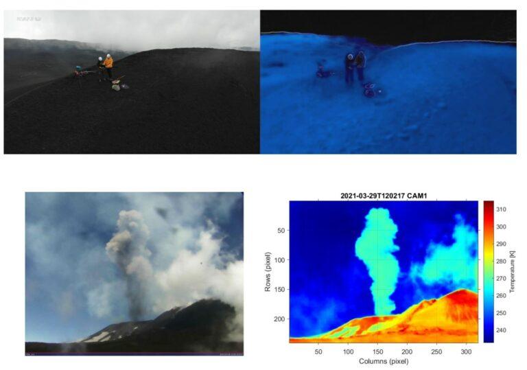 Figura 4 - In alto Stefano e Lorenzo al lavoro, immersi nelle nuvole nel campo del visibile a sinistra e nel termico a destra, la loro temperatura con le giacche è praticamente uguale a quella dell'ambiente. In basso due immagini simultanee nel visibile (a sinistra) e nell'infrarosso termico (a destra) ottenute con la camera VIS-TIR, che rivelano la presenza di una densa colonna di cenere causata da una esplosione verificatasi al cratere Voragine.