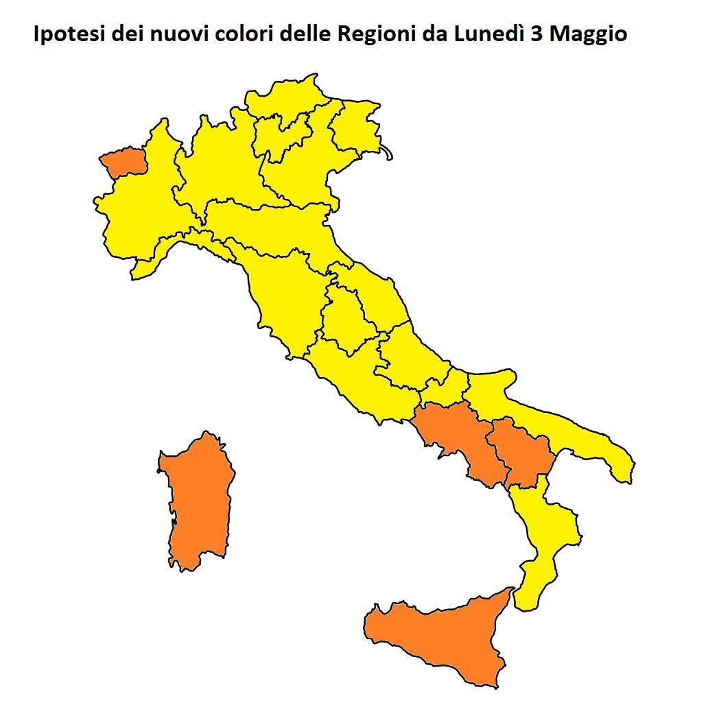 nuovi colori regioni italia lunedì 3 maggio