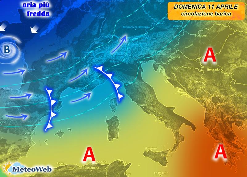 Meteo, tra domenica 11 e lunedì 12 aprile rischio di forte maltempo