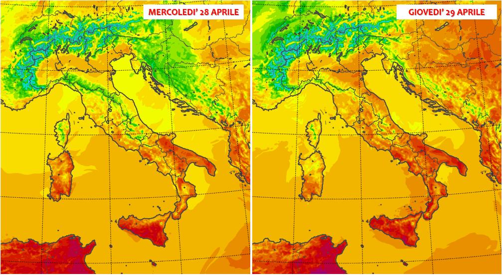 previsioni meteo 28 29 aprile 2021 temperature italia