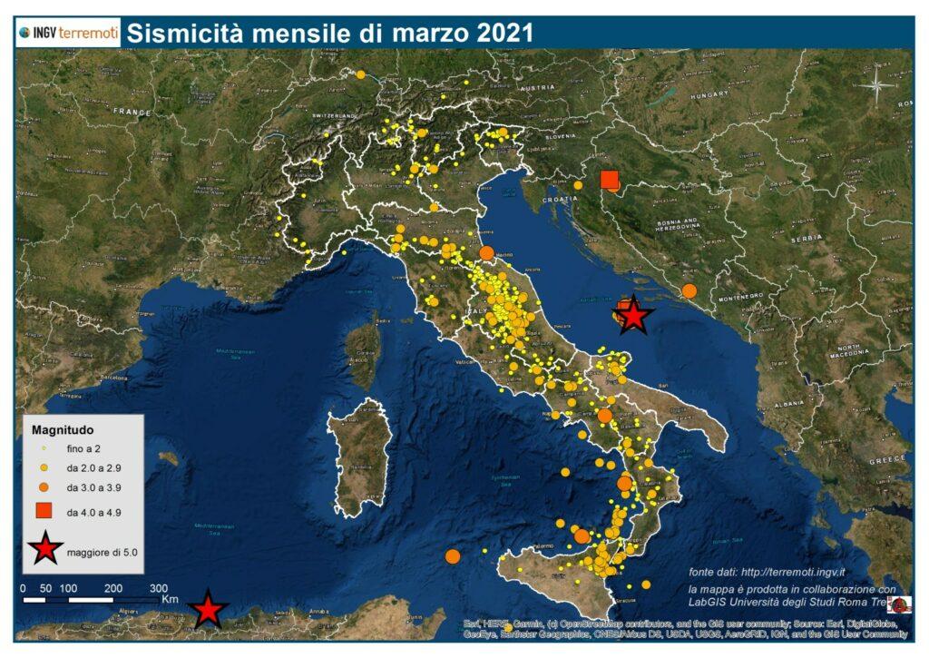 sismicità Marzo 2021