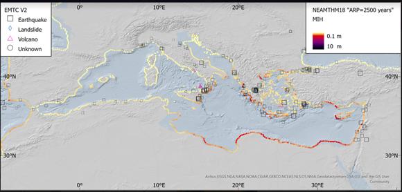 Mappa di pericolosità da tsunami nel Mar Mediterraneo e maremoti storici (simboli come nella legenda a sinistra). Oltre l'85% degli tsunami nel Mediterraneo sono stati provocati da forti terremoti. Le aree più esposte sono quelle della Grecia, di Egitto e Libia, e dell'Italia meridionale