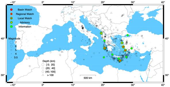 Epicentri dei terremoti del Mediterraneo dal 2017. I simboli colorati indicano gli eventi sismici che hanno provocato l'attivazione del CAT, con vari gradi di severità (legenda a sinistra in mappa). Nel 2021 ci sono stati altri due eventi, uno al largo dell'Algeria e un altro nel Mare Adriatico (Croazia)