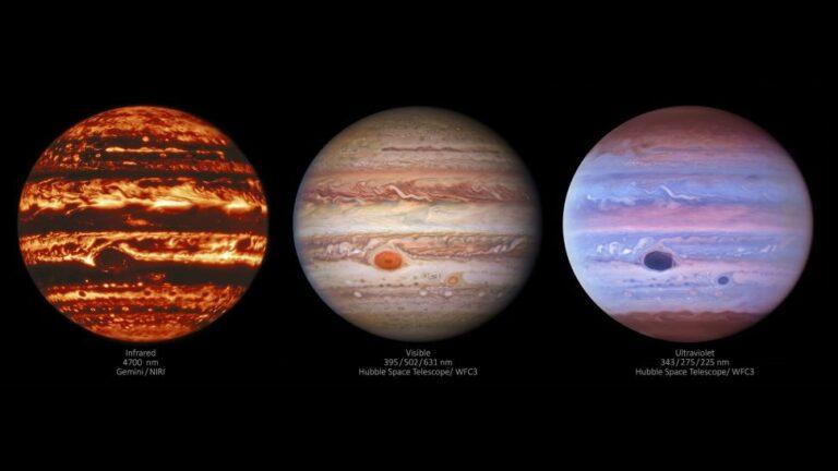 Giove nelle lunghezze d'onda visibile, ultravioletta e infrarossa. (Credit: International Gemini Observatory / NOIRLab / NSF / AURA / NASA / ESA, MH Wong e I. de Pater (UC Berkeley) et alt.)