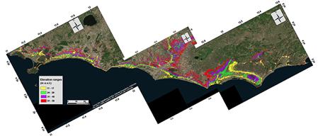 Photo #2 - Modello digitale del terreno (DEM) della fascia costiera del Lazio, elaborato da Cristiano Tolomei (INGV), in cui sono evidenziate con diversi colori le superfici comprese tra determinate quote, corrispondenti ai terrazzi marini ricostruiti indipendentemente attraverso lo studio geomorfologico.