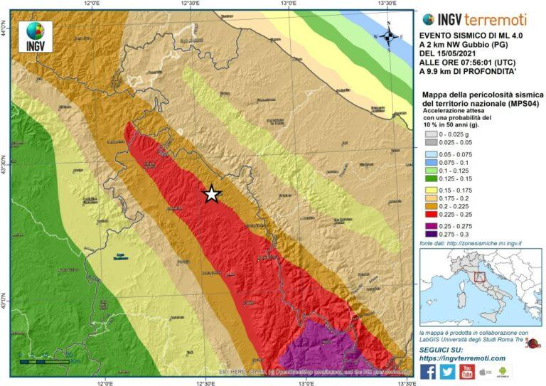 Localizzazione dell'evento sismico (stella bianca) di magnitudo ML 4.0 sovrapposta alla mappa di pericolosità sismica del territorio nazionale.