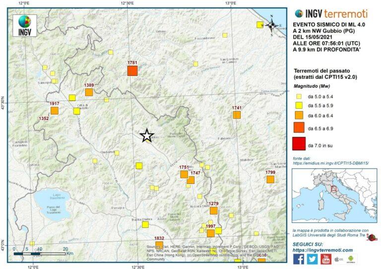 La sismicità storica nell'area estratta dal Catalogo Parametrico dei Terremoti Italiani (CPTI15).
