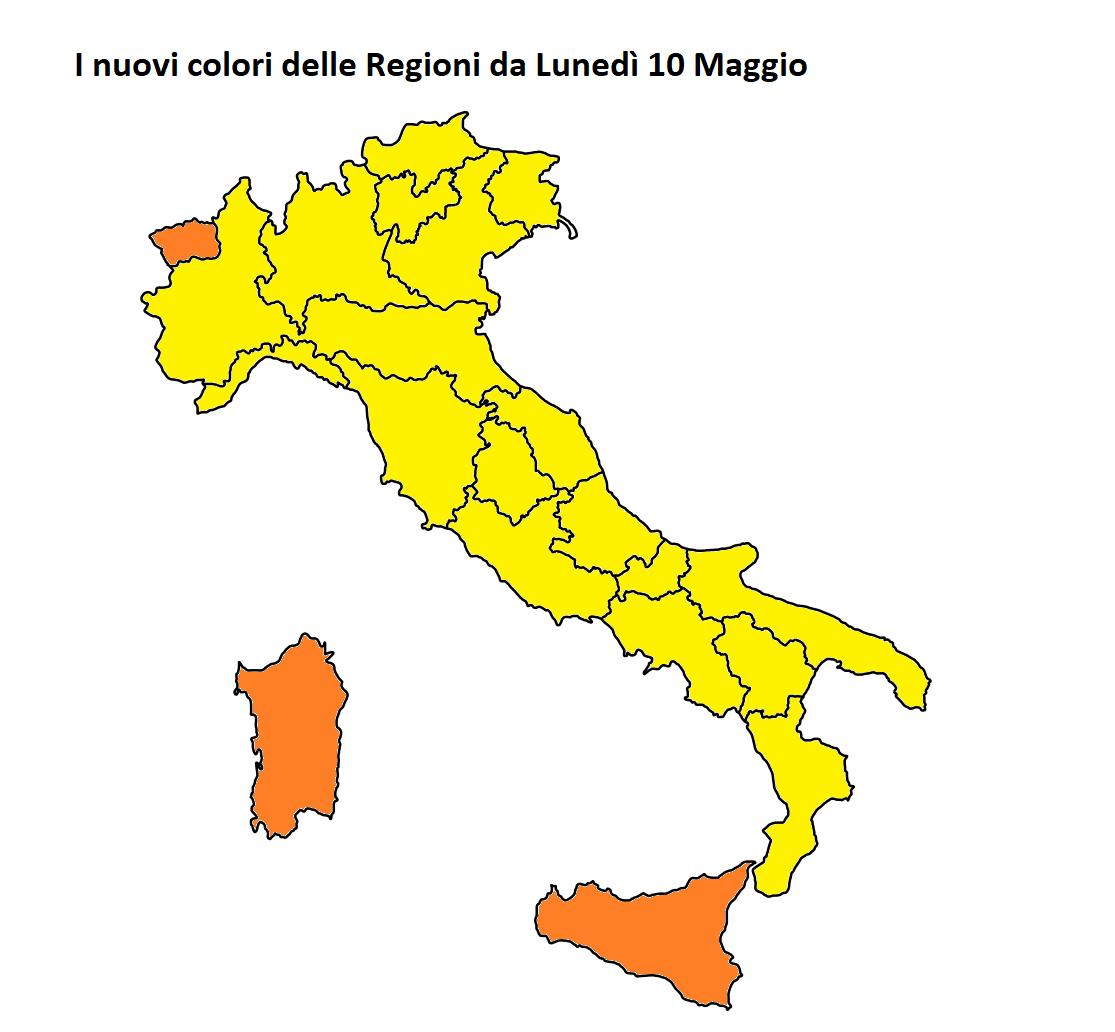 colori regioni italia 10 maggio