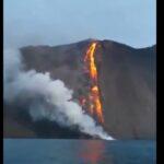Eruzione Stromboli: anche oggi esplosioni con lancio di brandelli di lava, la colata lungo la Sciara del Fuoco è ancora alimentata