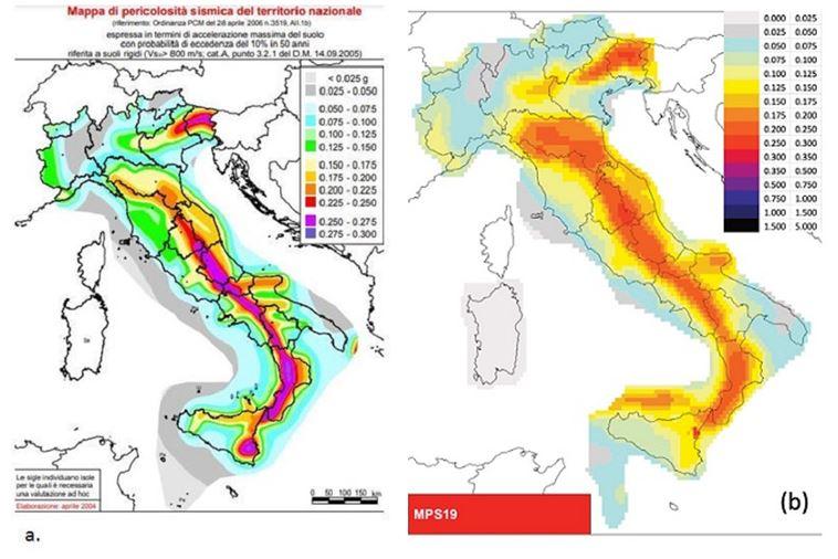 mappe pericolosità sismica italia mps04 mps19