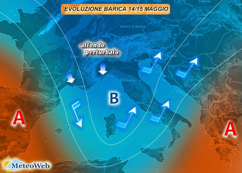 Meteo, sabato 15 maggio instabile al Sud e al Nordest