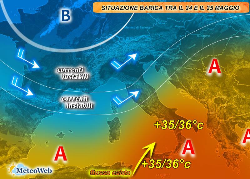previsioni meteo 24-25 maggio