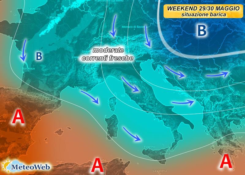 previsioni meteo 29-30 maggio
