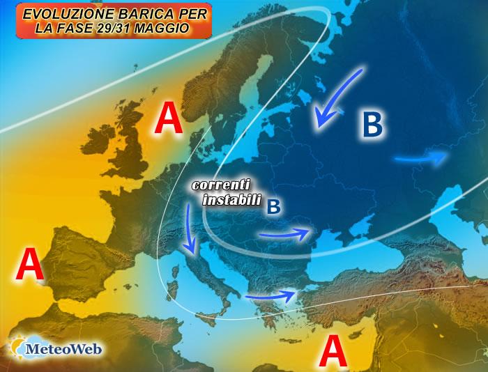 previsioni meteo 29-31 MAGGIO