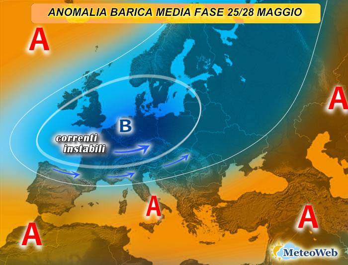 previsioni meteo fase 25-28 maggio