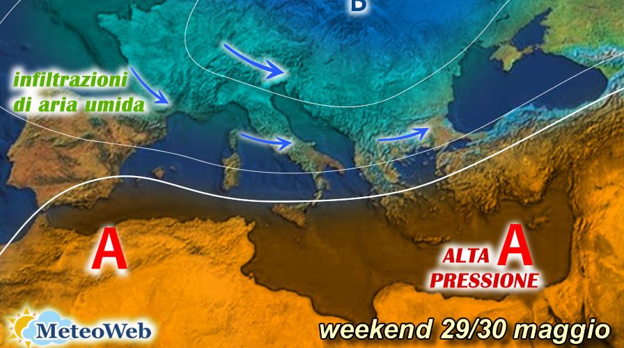 previsioni meteo weekend 29-30 maggio