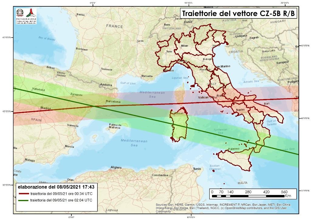 razzo cinese traiettorie italia