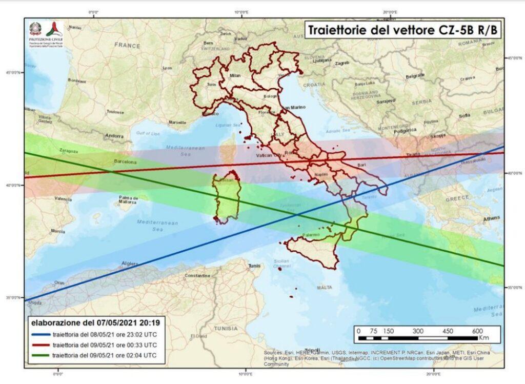 rientro razzo cinese fuori controllo traiettorie italia