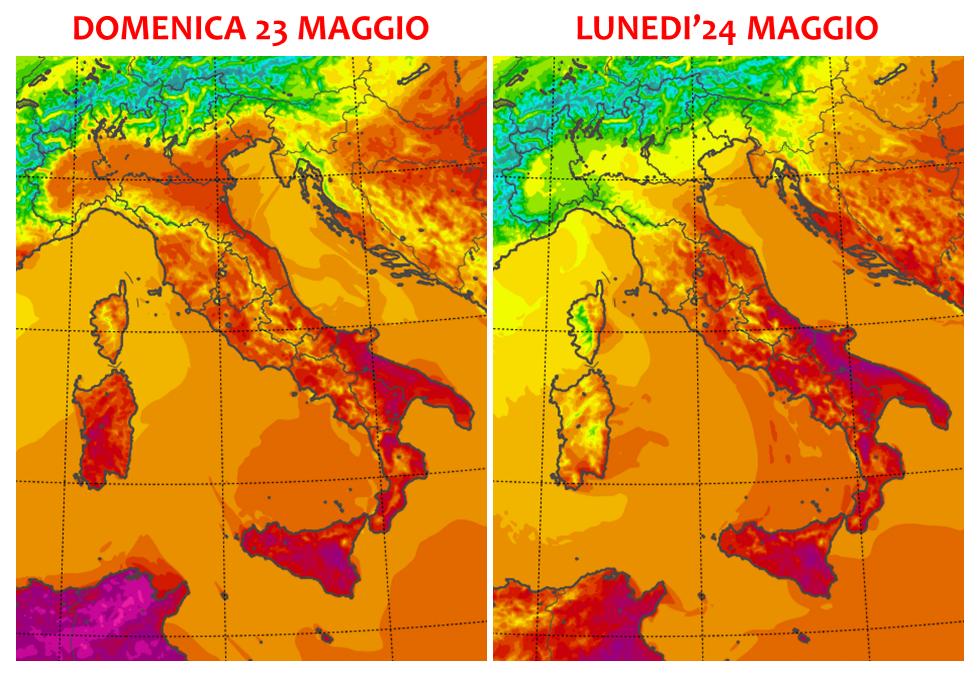 temperature italia domenica 23 lunedì 24 maggio