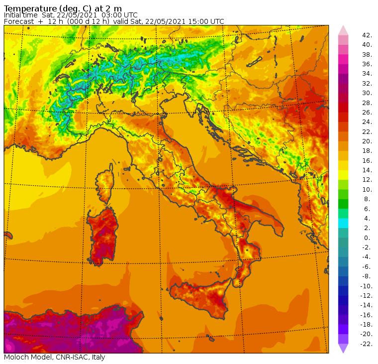 temperature massime italia oggi