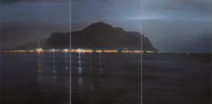 Ettore de Conciliis, Il porto di Palermo la sera, 2010, olio su tela