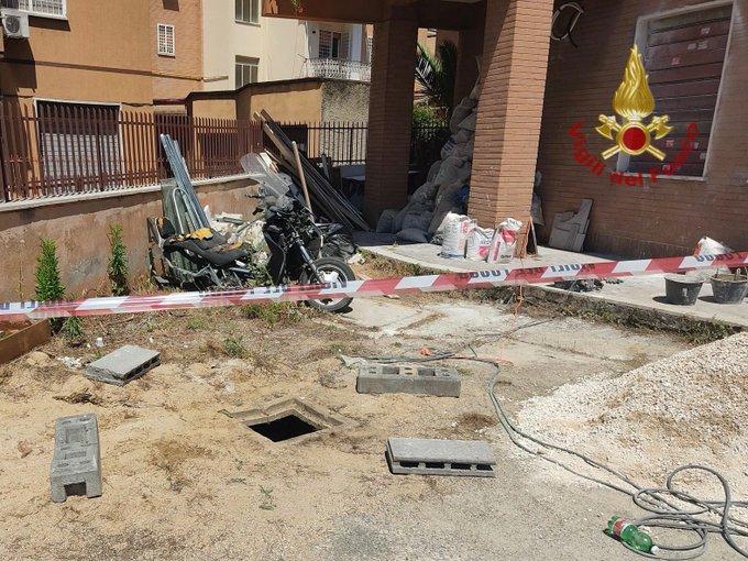 bimbo caduto in un pozzo a Roma