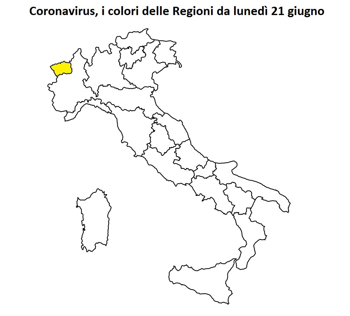 colori regioni lunedì 21 giugno