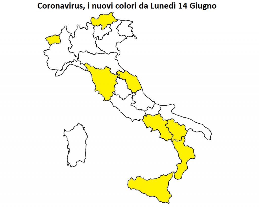 covid colori regioni lunedì 14 giugno