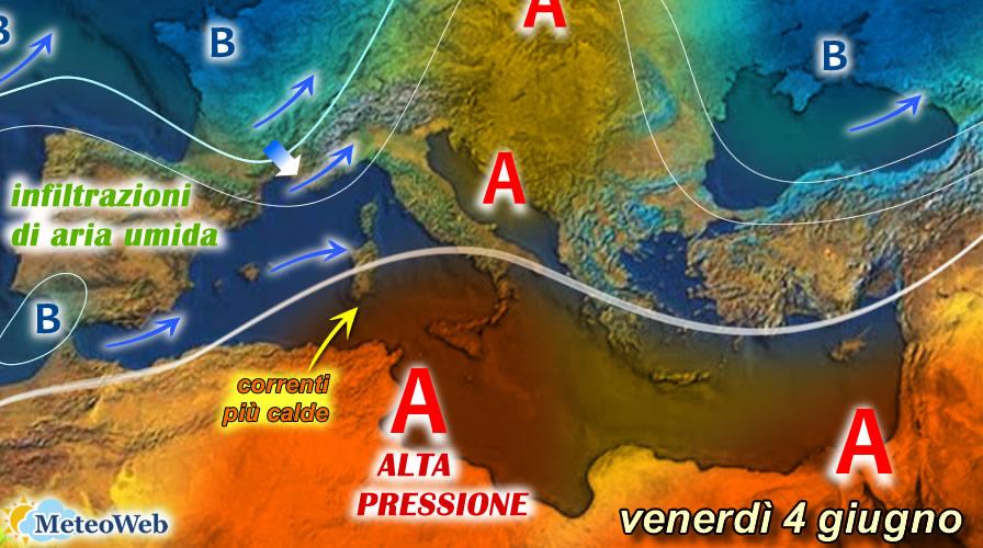 previsioni meteo 4 giugno