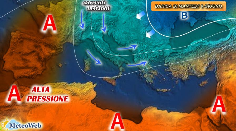 previsioni meteo 8 giugno