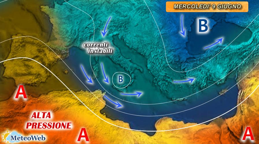 previsioni meteo 9 giugno