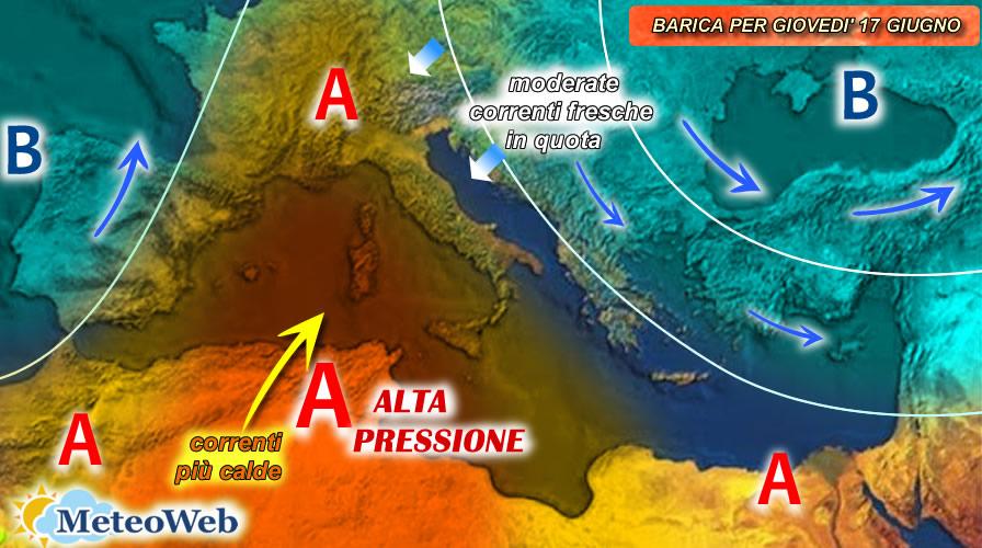 previsioni meteo giovedì 17 giugno