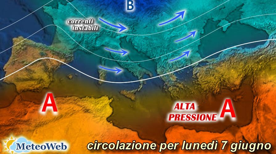 previsioni meteo lunedì 7 giugno