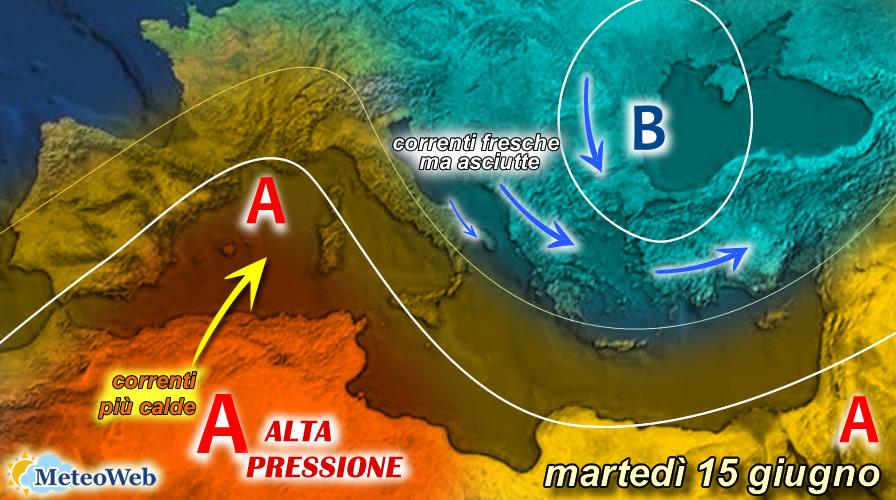 previsioni meteo martedì 15 giugno
