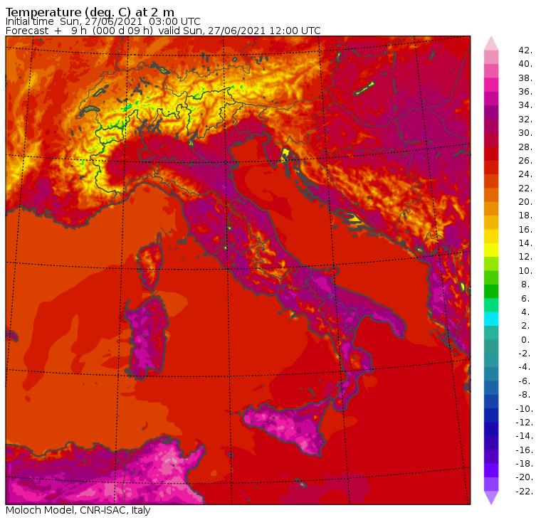 temperature massime 27 giugno 2021