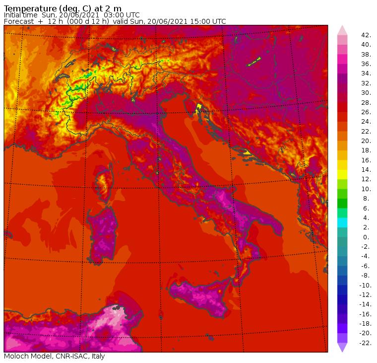 temperature massime domenica 20 giugno