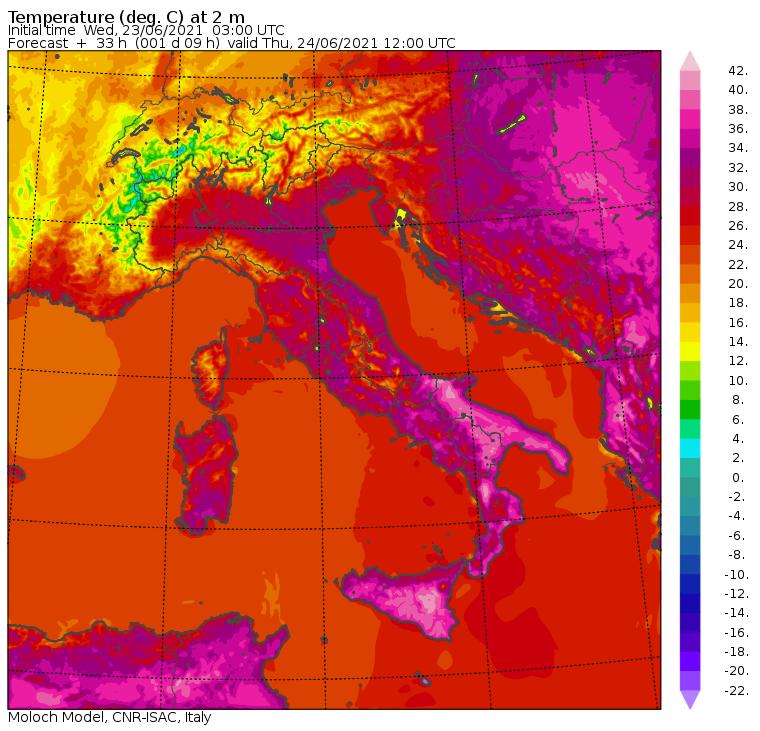 temperature massime italia 24 giugno 2021
