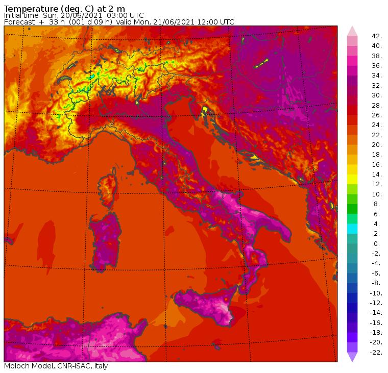 maximum temperatures on Monday 21 June