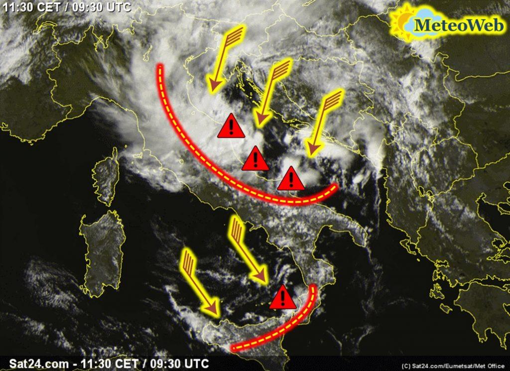 allerta meteo italia ciclone sud