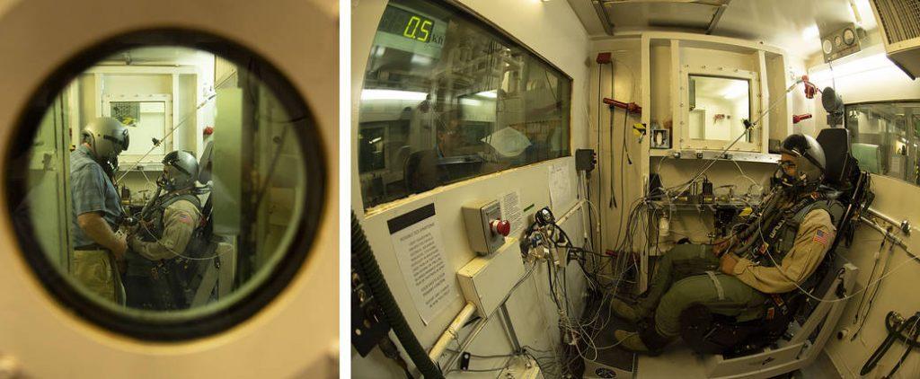 foto della camera di simulazione e del pilota collaudatore del Lockheed Martin X-59 QueSST