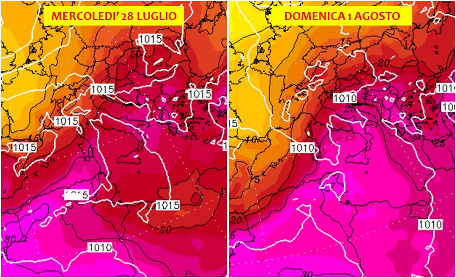 previsioni meteo caldo e maltempo italia