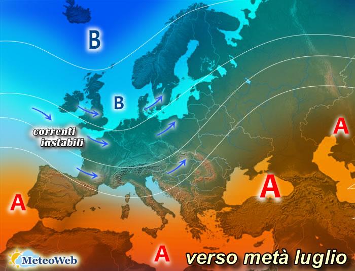 previsioni meteo verso metà luglio