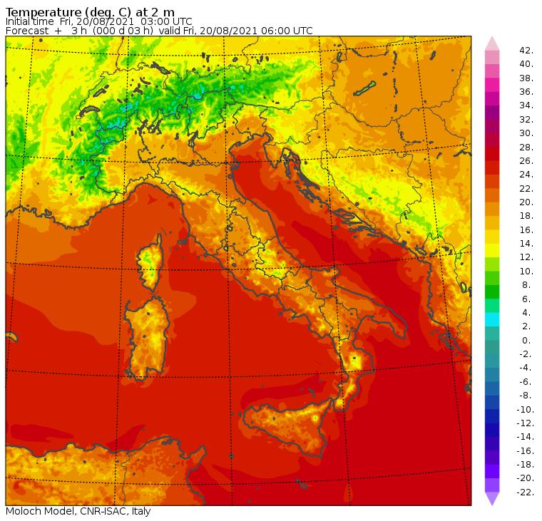 le temperature minime di oggi in italia